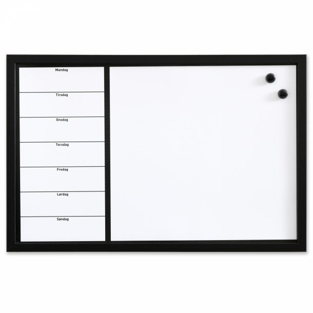 Fin Whiteboard ugetavle 60 x 40 cm. Dansk - Whiteboardtavler - NAGA A/S WK-96