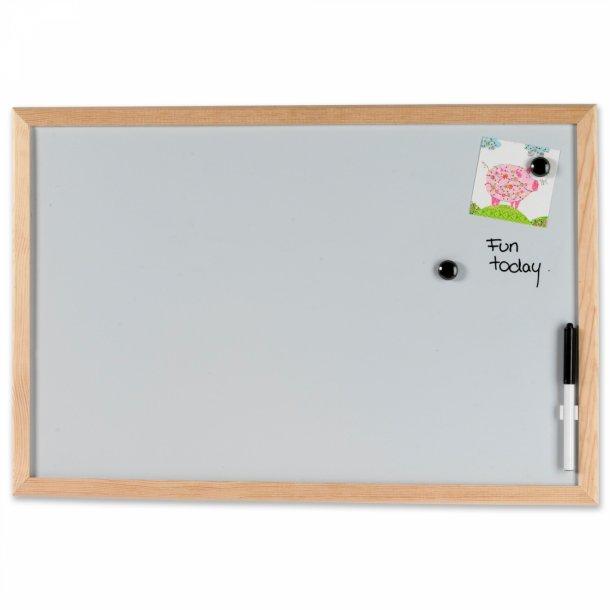 Smuk Whiteboard 60 x 40 cm. med træramme - Whiteboardtavler - NAGA A/S IL-42